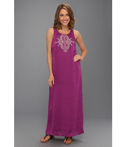 Michael Kors Chic Gold Beaded Long Silk Purple Maxi Dress Size M